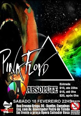 Show - Absolute Pink Floyd no Woodstock Rock Bar - 18/02/17